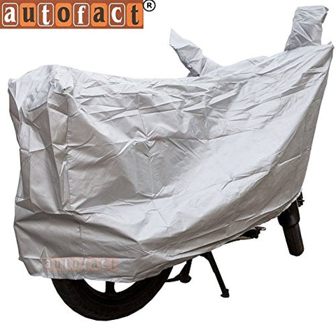 Autofact Silver Matty Bike Cover for Honda NXR 160 (Dust Proof, Scratch Proof, Mirror Pockets, Heavy Buckle)