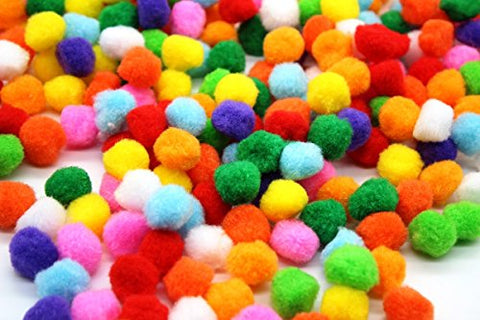 CraftDev Round Shaped Pompom Mixed Color Soft Fluffy Pom Pom for Art & Craft, Party Decoration ( Size 2CM /500 PCS )