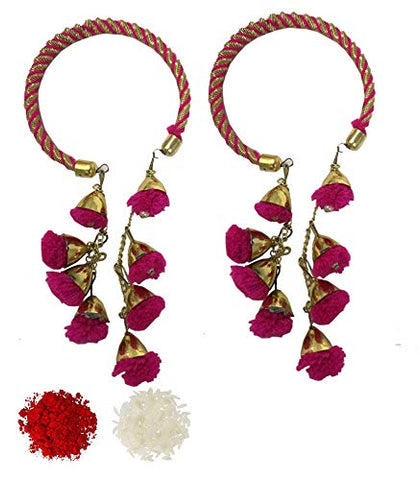 Evisha Women's Pom-Pom Hanging Traditional Lumba Chuda Rakhi for Bhabhi (Pink) -2 Pieces