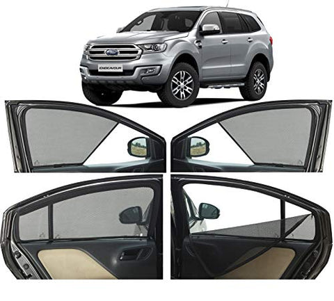 Autofact Half Magnetic Black Window Sunshades/Curtains for Ford Endeavour New (2018)- Set of 6pc