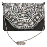 FALCON Jacard Stone Clutch Bag For Women's Purse (Black)