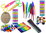 Lakeer DIY Craft Kit Pack of 237 pcs Craft Feathers, Pom Pom, Glitter Sticker, Decorative Craft Tape, Ice Cream Stick, Zig Zag Scissor, Glitter Pipe Cleaner Jute Roll Craft Accessories