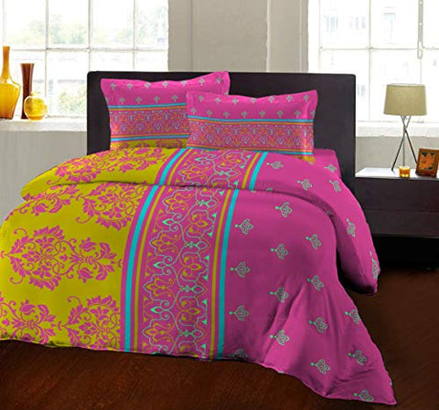 Bombay Dyeing 104 TC - Cotton Double Bedsheet with 2 Pillow Covers (Olive)