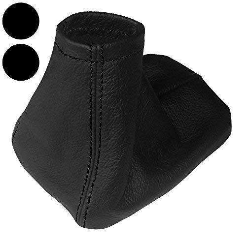 Aerzetix Bellows made of 100/% Genuine Black Leather White Stitching Set of Gear Shift Lever Gaiter and Handbrake Cover