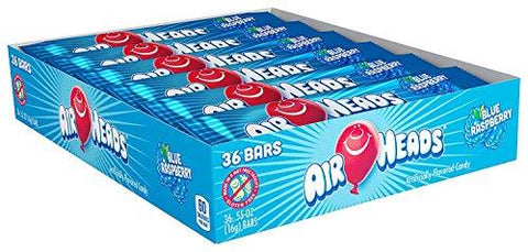 Airheads Bars, Blue Raspberry, Stocking Stuffer, Gift, Holiday, Christmas, 0.55 Ounce (Pack of 36)-CE-Airheads-Helmetdon