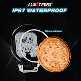 AllExtreme 4 Inch 9 LED Round Fog Light Flood Beam Auxiliary Waterproof Worklight with Mounting Bracket For Car, Motorcycle, SUV, ATV, Truck (27W, Yellow, Pack of 1)-AllExtreme-Helmetdon