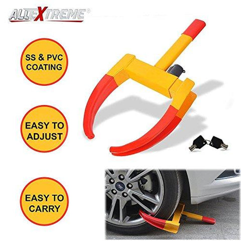 AllExtreme Heavy Duty Anti Theft Wheel Lock Clamp Anti-Theft Towing Parking Boot Tire Claw Adjustable for Auto Car Truck with Two Keys-AllExtreme-Helmetdon