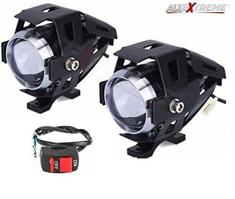 AllExtreme U5 CREE LED Driving Fog Light Fog in Aluminum Body for All Motorcycles, ATV and Bikes with Switch (15W, Pack of 2)-Bike Accessories-AllExtreme-Helmetdon