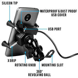Allxpert AL-12 X-Grip Premium Bike Mobile Charger & Phone Holder Version 2 for All Bikes Scooters (5V-2A Black)-CE-Allxpert-Helmetdon
