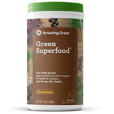 Amazing Grass Chocolate Drink Powder, Green Superfood, 17-Ounce Container-Health and Beauty-Amazing Grass-Helmetdon