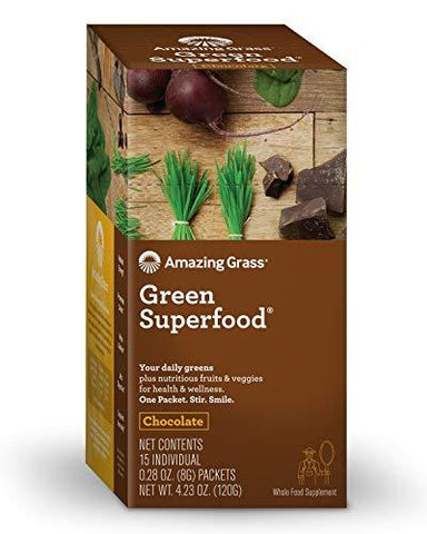Amazing Grass Green Superfood Organic Powder with Wheat Grass and Greens, Flavor: Chocolate, Box of 15 Individual Servings-Beauty-Amazing Grass-Helmetdon