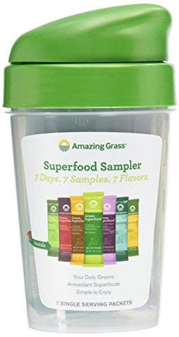 Amazing Grass Shaker Cup and 7 Flavors Of Green Superfood Packets, 159 Gram-Kitchen-Amazing Grass-Helmetdon