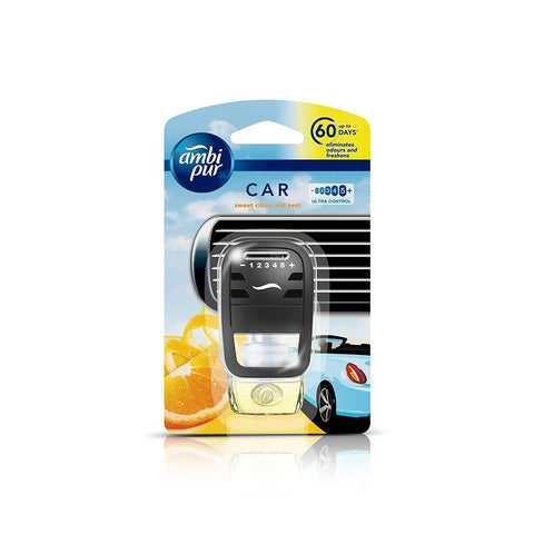 Ambi Pur Sweet Citrus and Zest Car Air Freshener Starter Kit (7.5 ml)-Car Perfumes-AmbiPur-Helmetdon