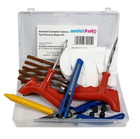amiciAuto Complete Tubeless Tyre Puncture Repair Kit with Box (Nose Pliers + Cutter + Rubber Cement + Extra Strips)-Automotive Parts and Accessories-amiciAuto-Helmetdon