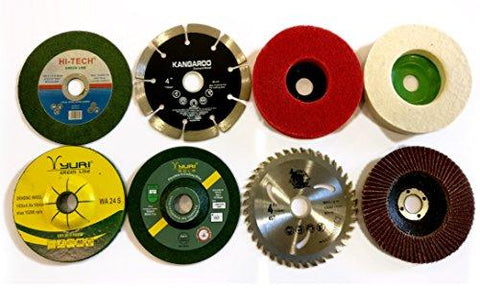 APS 14 Piece Combo Set Of Grinding Wheel Disc Cutting Polishing Buffing Wood Marble Stone Granite Steel Metal Plastic-APS-Helmetdon