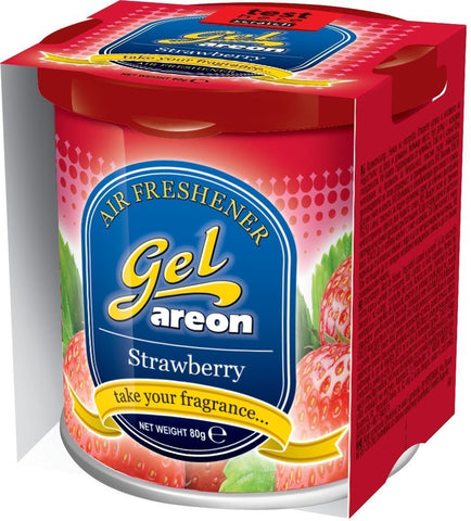 Areon Strawberry Gel Air Freshener for Car(80g )-Car Perfumes-Areon-Helmetdon
