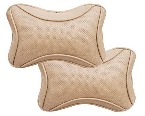 Auto Pearl Neck Rest for All Cars (Set of 2, Beige)-Autopearl-Helmetdon