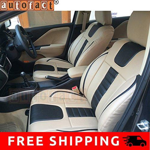 Autofact AF07 PU Leather Car Seat Covers Maruti Celerio (Beige / Black)-Autofact-Helmetdon