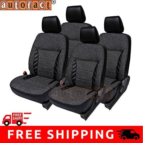 Autofact AF18 Jute / PU Leather Car Seat Covers Maruti Car 800 (Black)-Autofact-Helmetdon