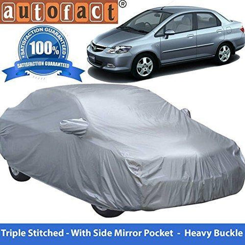 Autofact Premium Silver Matty Triple Stitched Car Body Cover with Mirror Pocket for Honda City Zx (2004 to 2008)-Car Accessories-Autofact-Helmetdon