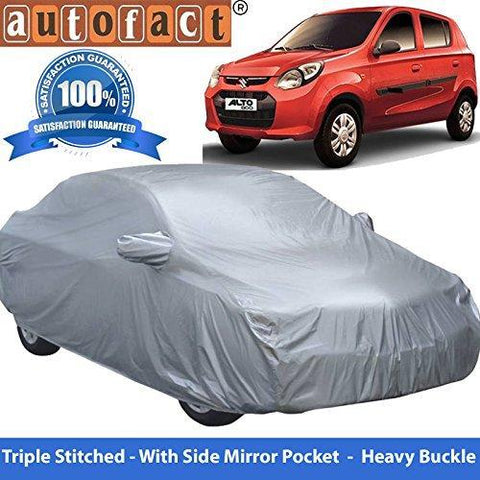 Autofact Premium Silver Matty Triple Stitched Car Body Cover with Mirror Pocket for Maruti Alto 800-Car Accessories-Autofact-Helmetdon
