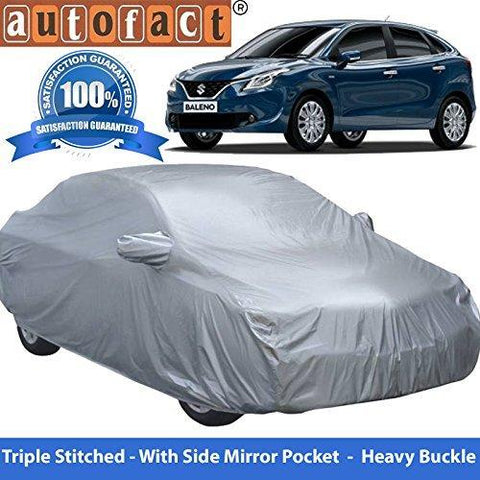 Autofact Premium Silver Matty Triple Stitched Car Body Cover with Mirror Pocket for Maruti New Baleno-Car Accessories-Autofact-Helmetdon