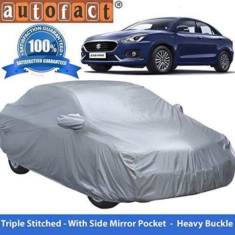 Autofact Premium Silver Matty Triple Stitched Car Body Cover with Mirror Pocket for Maruti Swift Dzire 2017-Car Accessories-Autofact-Helmetdon