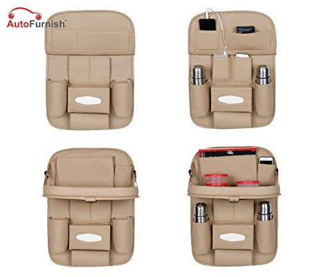 Autofurnish 3D Car Auto Seat Back Multi Pocket Storage Bag Organizer with Car Meal Tray-Autofurnish-Helmetdon