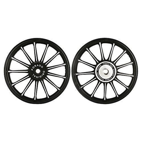 Autofy Porado 13 Spokes Black & Chrome Alloy Wheels for Royal Enfield Bullet Classic 350, Royal Enfield Bullet Classic 500, Royal Enfield Bullet Classic Desert Storm (Set of 2)-Bike Accessories-Autofy-Helmetdon