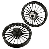 Autofy Porado 21 Spokes Black & Chrome Alloy Wheels for Royal Enfield Bullet Electra (Set of 2)-Bike Accessories-Autofy-Helmetdon