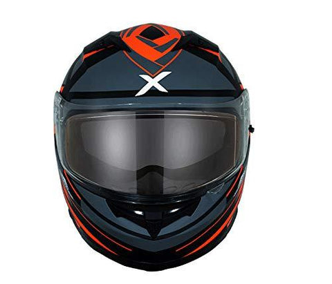 Axor Stealth Crazy D/V Full Face Helmet (Dull Black and Orange, XL)-Automotive Parts and Accessories-axor-Helmetdon