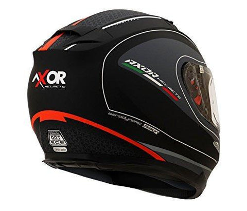 Axor Stealth Triton Full Face Helmet (Dull Black/Orange, L)-Helmets-AXOR-L-Helmetdon