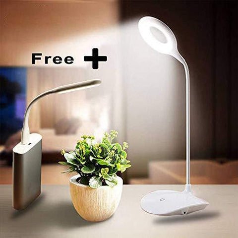 Azacus Rechargeable LED Touch On/Off Switch Desk Lamp Children Eye Protection Student Study Reading Dimmer Rechargeable Led Table Lamps USB Charging Touch Dimmer(White) & Emergency Portable USB Light-Lighting-Azacus-Helmetdon