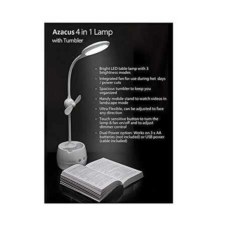 Azacus Rechargeable LED Touch On/Off Switch Desk Table Lamp with Mobile Holder and Mini Fan, Children Eye Protection Office Desk Light USB Charging Touch Dimmer(White)-Lighting-Azacus-Helmetdon