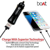 boAt Dual Port Rapid Car charger (Qualcomm Certified) Smart Charging with Quick Charge 3.0 + Free Type C USB Cable Black-Boat-Helmetdon