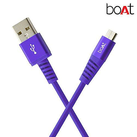 boAt Rugged V3 Braided Micro USB Cable (Mystic Purple)-CE-Boat-Helmetdon