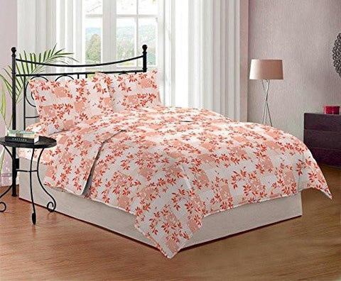 Bombay Dyeing Cynthia 120 TC Polycotton Double Bedsheet with 2 Pillow Covers - Orange-Home & Kitchen-Bombay Dyeing-Helmetdon