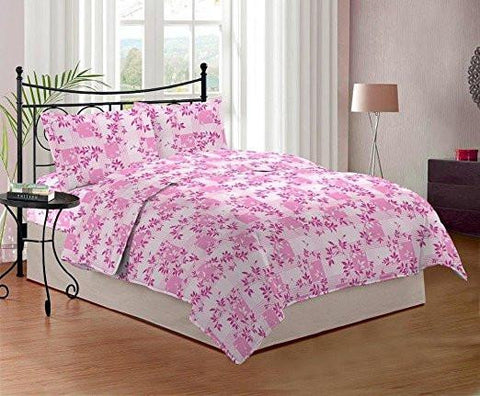Bombay Dyeing Cynthia 120 TC Polycotton Double Bedsheet with 2 Pillow Covers - Pink-Home & Kitchen-Bombay Dyeing-Helmetdon