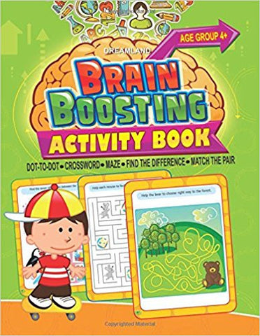 Brain Boosting Activity Book - Age 4+: Match the Pair, Find the Difference, Maze, Crossword, Dot-to-Dot (4+ Yrs)-Books-TBHPD-Helmetdon