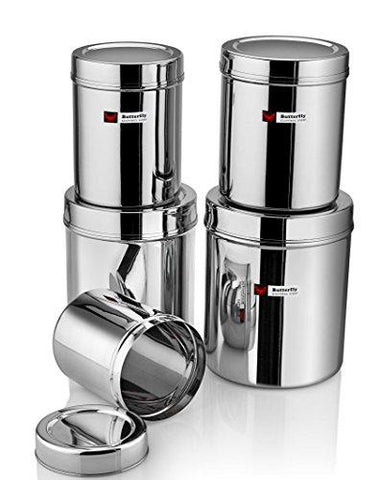 Butterfly Stainless Steel Container (No. 1-5), 10 Pieces, Silver-Kitchen-Butterfly-Helmetdon