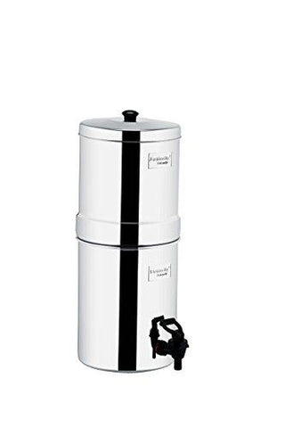 Butterfly Stainless Steel Water Filter, 22 litres with Double Candle, 5-Piece, Silver-Kitchen-Butterfly-Helmetdon