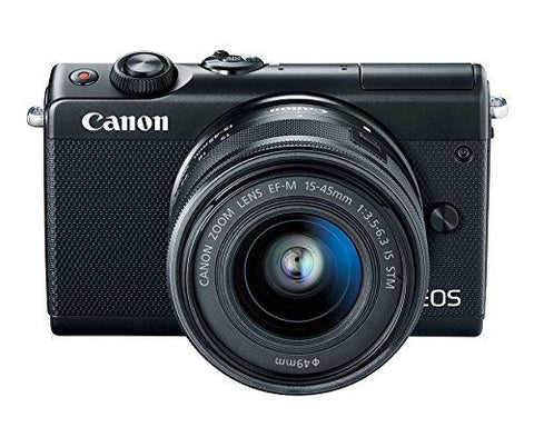 Canon EOS M100 2209C011 Mirrorless Camera w/ 15-45mm Lens - Wi-Fi, Bluetooth and NFC Enabled (Black)-CE-Canon-Helmetdon