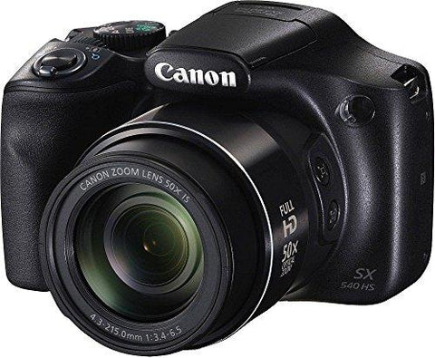 Canon PowerShot SX540HS 20.3MP Digital Camera with 50x Optical Zoom (Black) + Memory Card + Camera Case-CE-Canon-Helmetdon