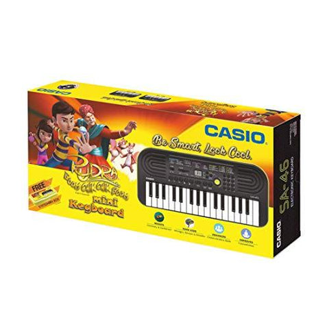 Casio SA46 Mini Portable Keyboard with Free Rudra Stationery Box-Musical Instruments-Casio-Helmetdon