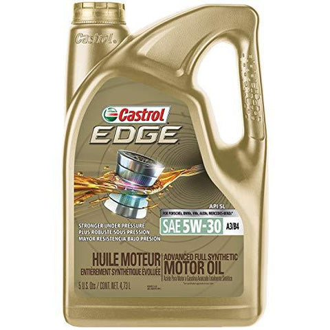 Castrol 03037 Edge Gold 5W-30 Synthetic Motor Oil, 5 Quart (API SL, ACEA A3/B4, BMW LL-01, MB-Approval 229.5, VW 502 00, VW 505 00)-Automotive Parts and Accessories-Castrol-Helmetdon