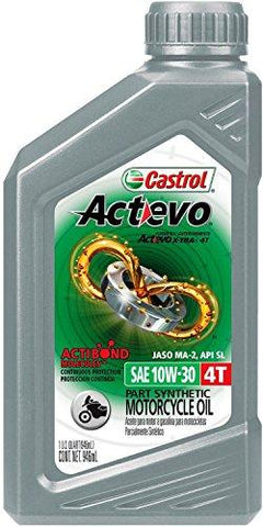 Castrol 06119 Actevo 10W-30 Part Synthetic 4T Motorcycle Oil - 1 Quart Bottle, (Pack of 6)-Automotive Parts and Accessories-Castrol-Helmetdon