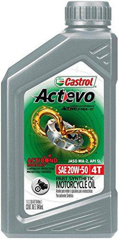 Castrol 06139 Actevo 20W-50 Part Synthetic 4T Motorcycle Oil - 1 Quart Bottle, (Pack of 6)-Automotive Parts and Accessories-Castrol-Helmetdon