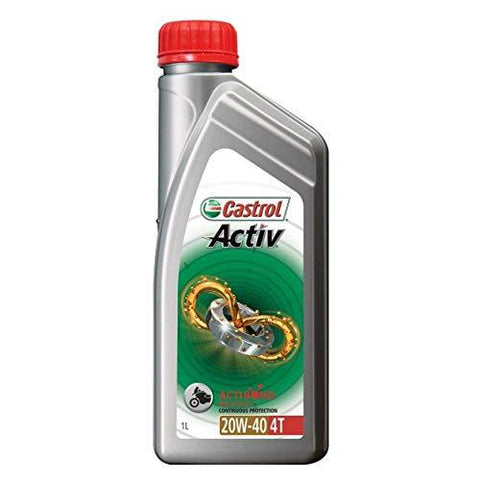 CASTROL ACTIV 4T 20W40 1LTR 5NOS-Automotive Parts and Accessories-Castrol-Helmetdon