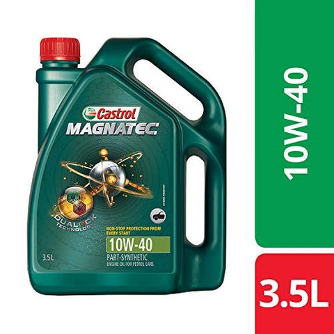 Castrol MAGNATEC 10W-40 API SN Part-Synthetic Engine Oil for Petrol Cars (3.5 L)-Automotive Parts and Accessories-Castrol-Helmetdon