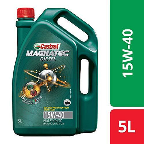 Castrol MAGNATEC DIESEL 15W-40 API SN Part-Synthetic Engine Oil for Diesel Cars (5 L)-Automotive Parts and Accessories-Castrol-Helmetdon